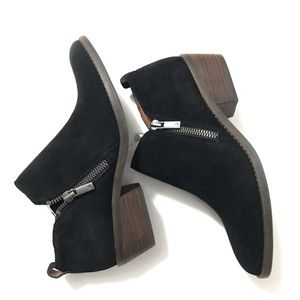 NEW Lucky Brand Black Suede Ankle Boots Booties 6
